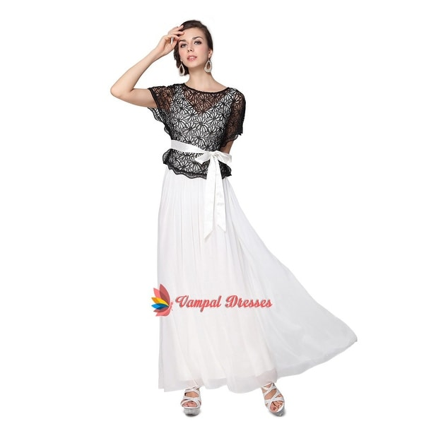 935a2b4cba425 Shop Black And White Round Neck Two Piece Lace Top Chiffon Evening ...