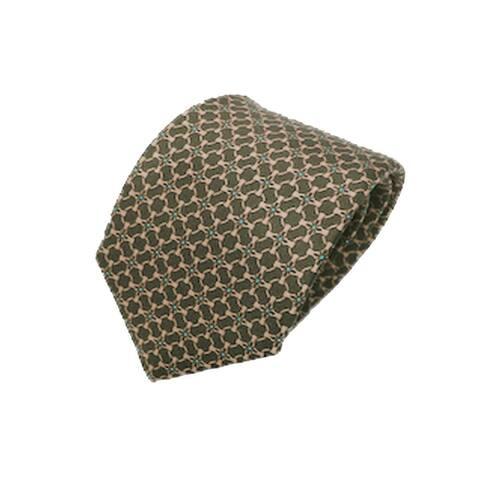 Gucci Men's Tie Beige Green Luxury Twill Necktie 408867