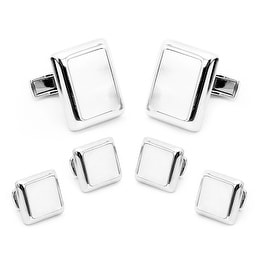 Silver and Mother of Pearl JFK Presidential Stud Set