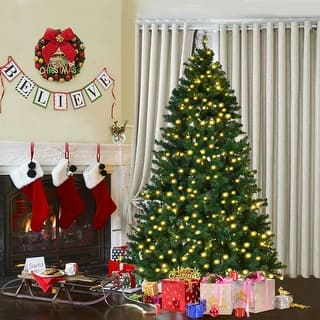 Costway 7Ft Pre-Lit PVC Artificial Christmas Tree Hinged w/ 300 LED Lights &