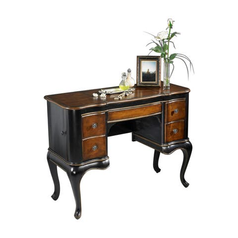 Offex Traditional Rectangular Wooden Vanity in Cafe Noir Finish - Multicolor