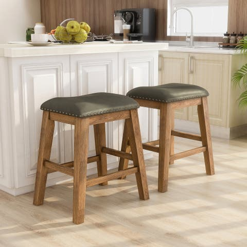 Copper Grove Zadar Rustic Faux Leather Barstool (Set of 2)