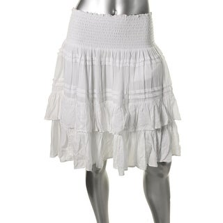 Lauren Ralph Lauren Womens Smocked Waist Lined Tiered Skirt - 6