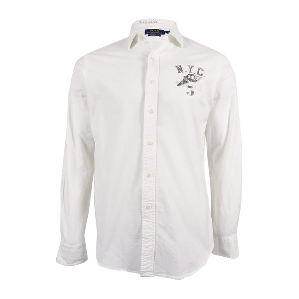 Polo Ralph Lauren Men's Embroidered Oxford Shirt (L, White) - White - L