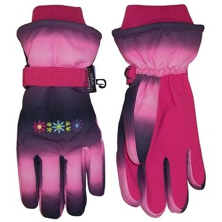 NICE CAPS Girls Thinsulate and Waterproof Multi Color Tye Dye Floral Ski Gloves