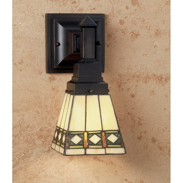 "Meyda Tiffany 48191 Diamond Mission 7"" Wide 1-Light Wall Sconce with Stained Glass Shade - tiffany glass"