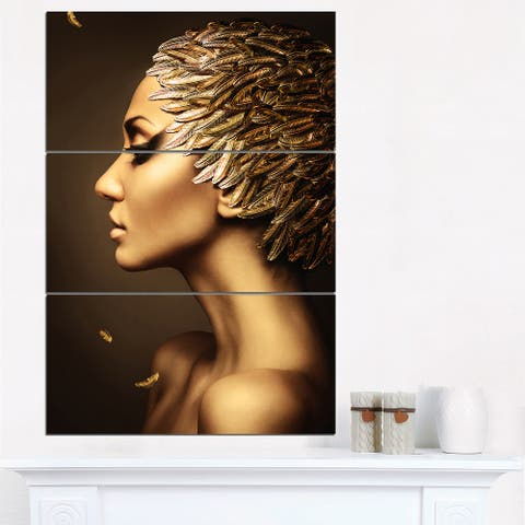 Designart 'Woman with Gold Feather Hat' Contemporary Canvas Art Print - 28x36 - 3 Panels