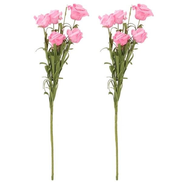 Bride Wedding Foam Artificial Rose Flower Heads Buds Handheld Bouquet Pink 2pcs