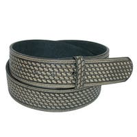 CTM® Men's Leather Basketweave No Buckle Belt Strap