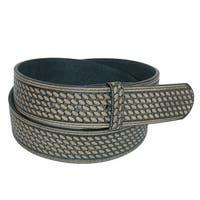 CTM® Men's Leather Basketweave No Buckle Belt Strap