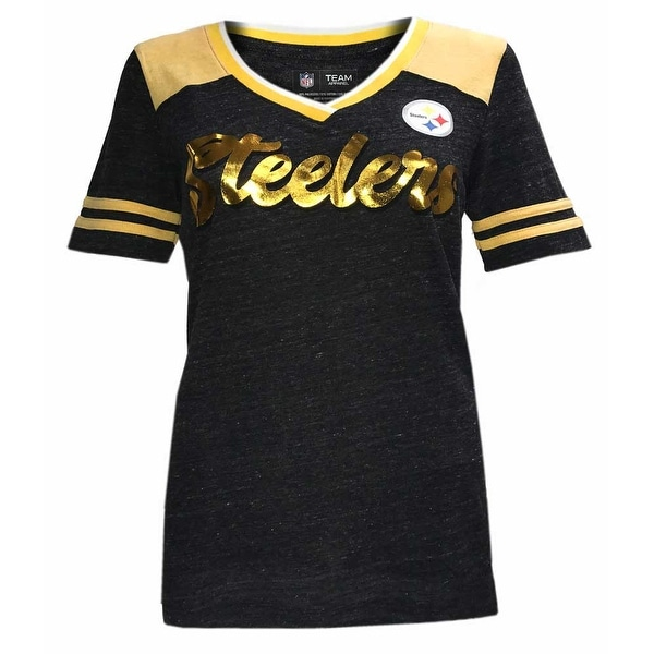 Shop New Era Women s NFL Pittsburgh Steelers V-Neck T-Shirt Short Sleeve  Tee ONT5GO - Free Shipping On Orders Over  45 - Overstock - 21926348 499143e14e