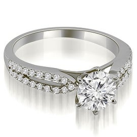 0.80 cttw. 14K White Gold Cathedral Split Shank Round Diamond Engagement Ring