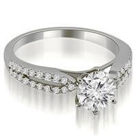 0.80 cttw. 14K White Gold Cathedral Split Shank Round Diamond Engagement Ring