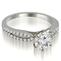 1.30 cttw. 14K White Gold Cathedral Split Shank Round Diamond Engagement Ring