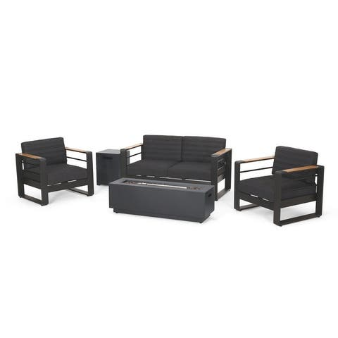 Ostrander Outdoor Aluminum 4 Seater Chat Set with Fire Pit by Christopher Knight Home