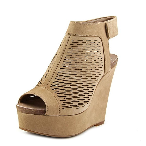 Vince Camuto Kyrene Women Open Toe Leather Brown Wedge Sandal