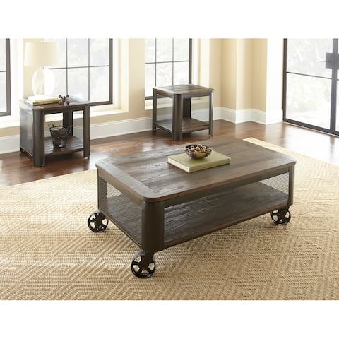 Braden Wood and Metal Castered Lift Top 3-Piece Occasional Set by Greyson Living