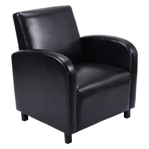 Costway Modern Leisure Chair Sofa PU Leather Wooden Arm Chair Living