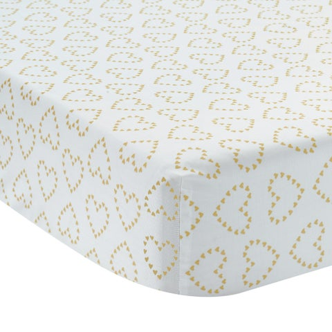 Lambs & Ivy Confetti Fitted Crib Sheet - Gold, White, Love, Hearts, Modern, Girl
