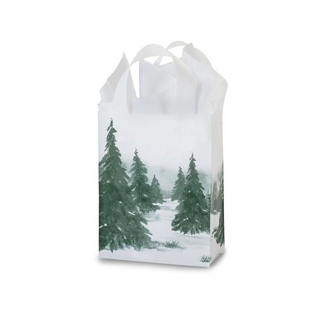 """Pack of 25, Cub Winter Landscape Plastic Bags 3 Mil Bags 8 X 4 X 10"""" For Christmas Packaging"""