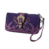 Floral Rhinestone Buckle Double Zip Wallet w/Removable Wrist Strap