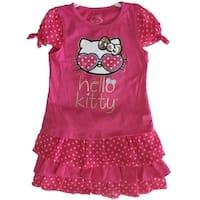Hello Kitty Little Girls Fuchsia Dotted Glittery Applique 2 Pc Skirt Set 4-6X