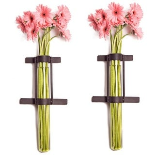 "Danya B QB201 15.5"" Tall Decorative Glass and Iron Wall Sconces - Set of 2"
