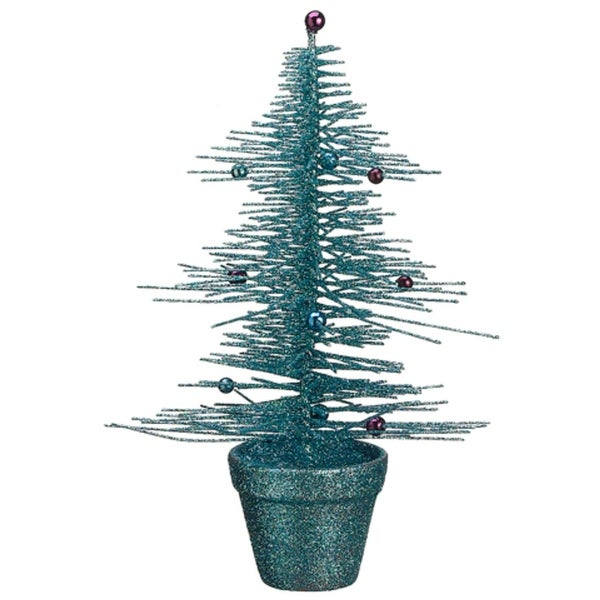 """11"""" Whimsical Turquoise Glittered Spike Table Tree"""