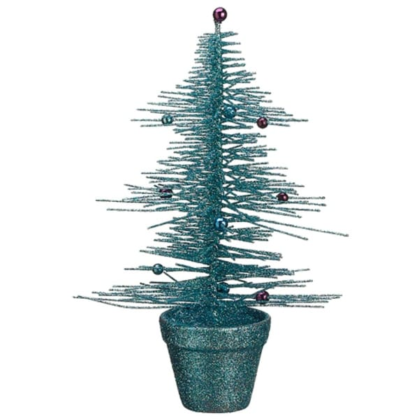 "11"" Whimsical Turquoise Glittered Spike Table Tree - BLue"