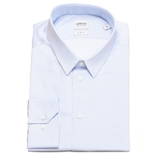 Armani Collezioni Men Slim Fit Cotton Pinstriped Dress Shirt Light Blue
