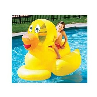 """60"""" Water Sports Inflatable Giant Ducky Swimming Pool Ride-On Float Toy - Yellow"""