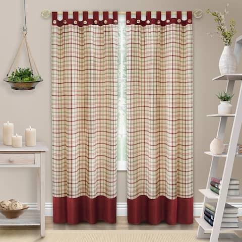 Tattersall Button Tab Top Window Curtain Panel