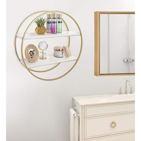 Kate and Laurel Sequoia Wood and Metal Round Wall Shelf
