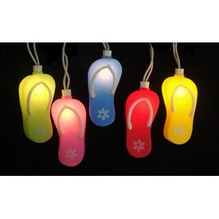 Set of 10 Beach Party Summer Garden Patio Colorful Flip Flop Christmas Lights-White Wire