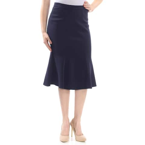 ST JOHN Womens Navy Midi A-Line Wear To Work Skirt Size: 8
