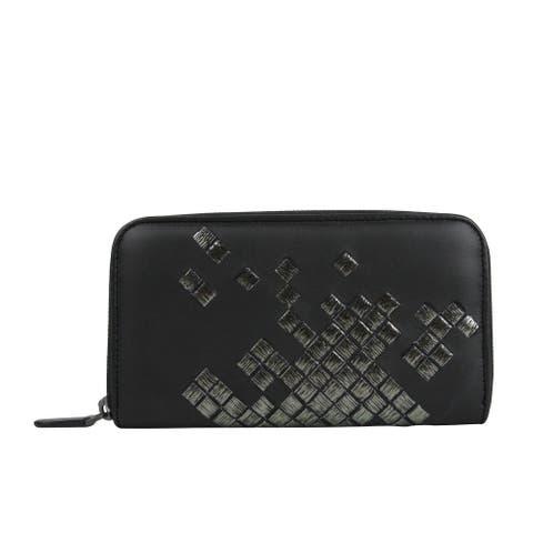 Bottega Veneta Women's Zip Around Black Leather Woven Wallet 114076 1160 - One size