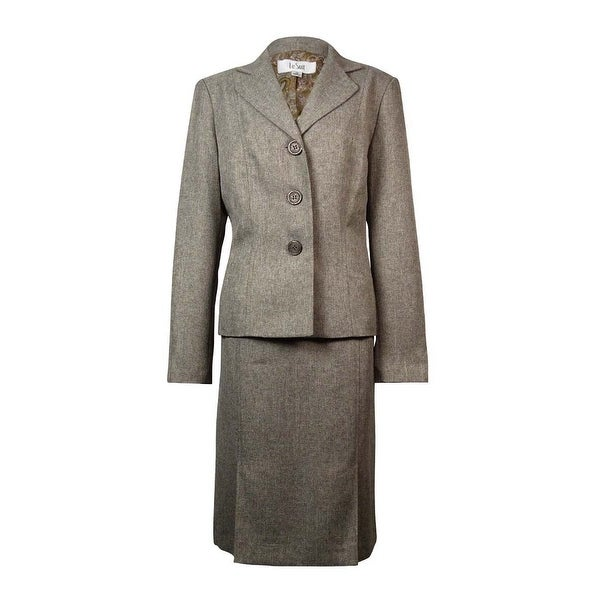 Le Suit Women's Tuscany Notch Woven Skirt Suit - taupe multi - 16