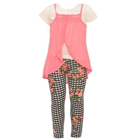 Little Girls Coral Wrap Overlaid Top Checker Floral 2 Pc Pant Outfit