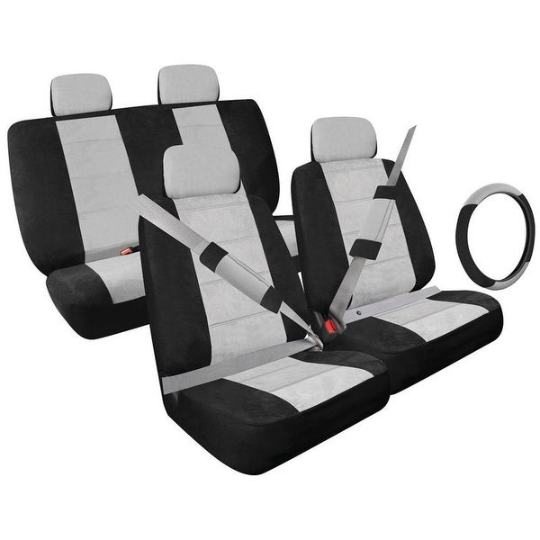 Pilot Automotive Universal Grey Micro Fiber Front and Back Seat Cover/ Shoulder Pad Covers/ Steering Wheel Cover (Set of 13)