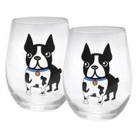 Circleware Boston Terrier Stemless Wine Glasses - 18.5 Ounce Barware Set of 2