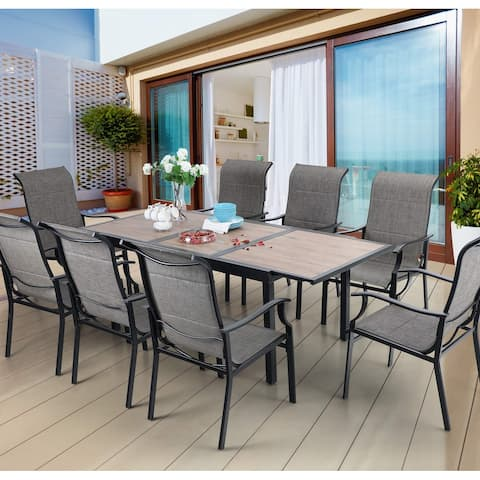 Sophia & William Patio Dining 9 Pieces Set, 8 Patio Dining Chairs Padded Textilene and 1 Expandable 6-8 Person Table