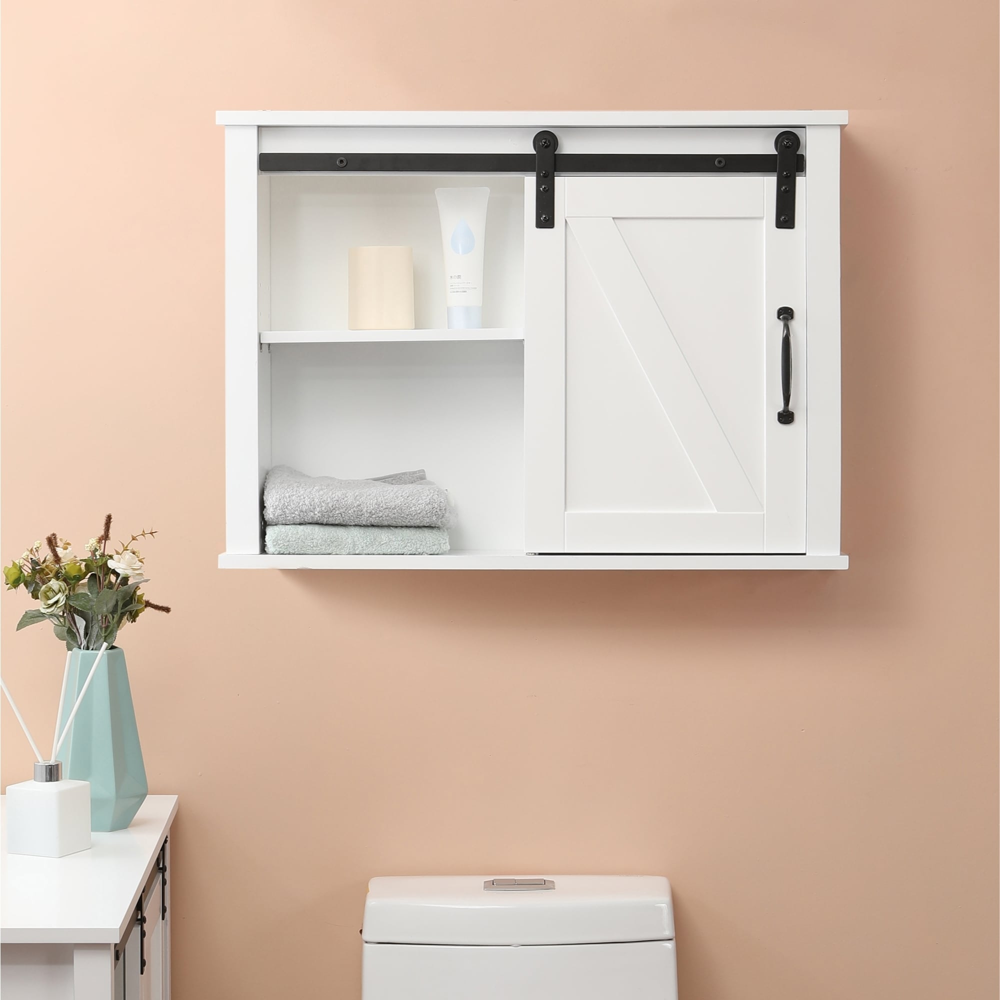 Farmhouse White Mdf Bathroom Wall Cabinet Overstock 31827194