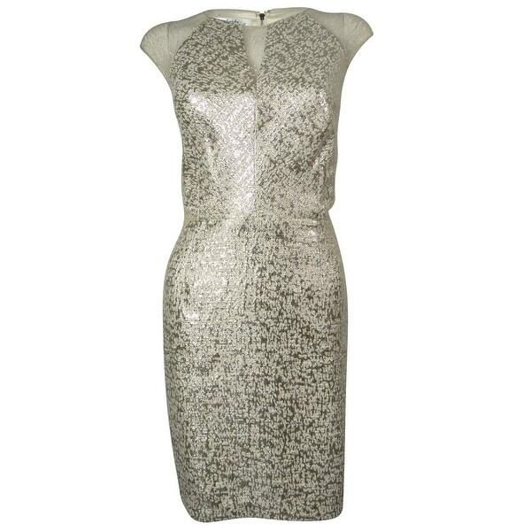 Phoebe by Kay Unger Women's Illusion Metallic Jacquard Dress - 12