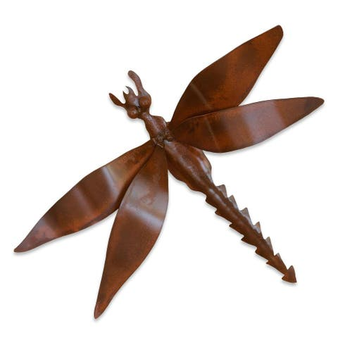 Handmade Exotic Dragonfly Iron Wall Sculpture (Mexico)