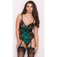 Emerald And Black Lace Teddy With Garters, Hoty Teddy Lingerie