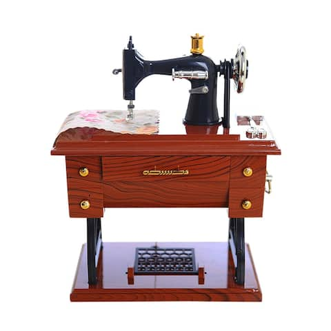 "Vintage Music Box Mini Sewing Machine Style Mechanical Birthday Gift Table Decor - 5.12"" x 3.15"" x 6.29"""