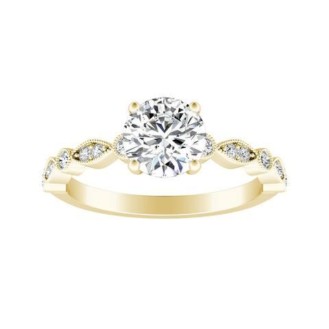 Auriya 14k Gold Vintage 3/4ct Round Moissanite Engagement Ring