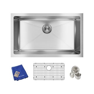 "Elkay EFRU281610TC  Crosstown 30-1/2"" Undermount Single Basin Stainless Steel Kitchen Sink with Sound Dampening"