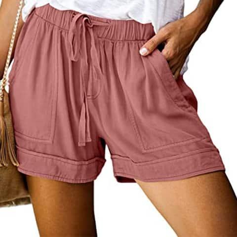 Womens Shorts Casual Drawstring Elastic Waist Summer With Pockets S-5Xl Army Green