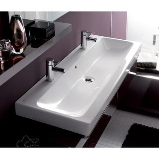 """Bissonnet 124020 Elements iCon 47-1/4"""" Wall Mounted Center Drain Bathroom Sink with 2 Holes Drilled and Overflow - White"""